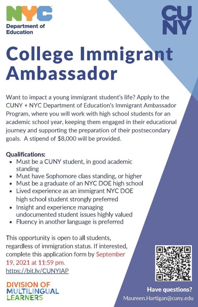 College Immigrant Ambassador progam flyer