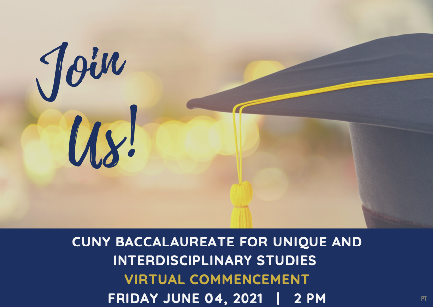 Image of graduation cap with text reading Virtual Commencement June 4, 2021 2pm