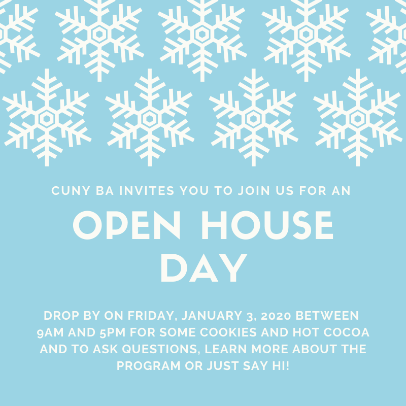 Flyer for CUNY BA's open house January 3, 2020.