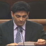 Wali Ullah testifying on behalf of NYPIRG, with NYPIRG Board Chair Santana Alvarado and Executive Director Blair Horner (not seen in photo), at the State Legislature Joint Budget Hearing on Higher Education, February 4th 2020